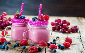 Картинка ягоды, завтрак, банки, wood, йогурт