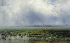 Картинка облака, пейзаж, птица, масло, картина, Болото, холст, Константин Крыжицкий
