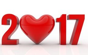 Обои сердце, 2017, число, праздник, цифры, рендеринг