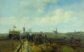 Картинка картина, Шарль Рохуссен, Ипподром в Схевенингене, масло, дерево