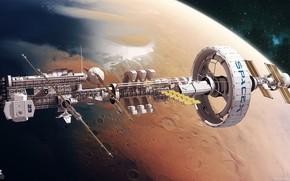 Картинка корабль, планета, станция, Spaceship concept