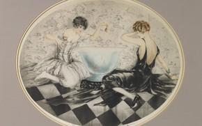 Картинка аквариум, золотые рыбки, 1927, Louis Icart, арт-деко, Озорница
