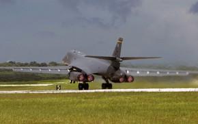 Картинка Lancer, B-1B, ВВС США, Rockwell International, бомбардировщик с крылом изменяемой стреловидности, американский сверхзвуковой стратегический, Военно-воздушных …