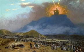 Обои религия, Моисей на Горе Синай, мифология, Жан-Леон Жером, картина