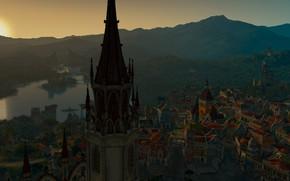 Картинка закат, озеро, Франция, башня, дома, Боклер, The Witcher 3: Blood and Wine