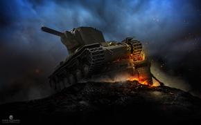 Обои огонь, СССР, броня, КВ-2, танк, Клим Ворошилов, ночь, мощь, тяжелый, дым, World of Tanks, советский, ...