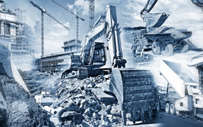 Обои design, architecture, machinery, Construction, engineering, plans, projects, soil movement, start of work