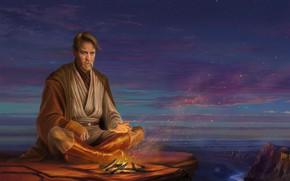 Обои небо, облака, закат, костер, star wars, art, jedi, Ewan McGregor, Obi-Wan Kenobi, obi wan