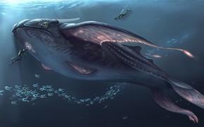 Обои фантастика, океан, водолаз, арт, кит, Subnautica