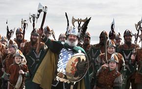 Картинка axe, blade, armor, helmet, sword, boy, ken, crown, shield, cosplay, cosplayers, viking, kid