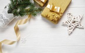 Картинка праздник, подарок, звезда, новый год, ель
