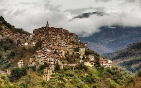 Картинка горы, дома, Италия, Italy, Лигурия, Liguria, Apricale, Априкале