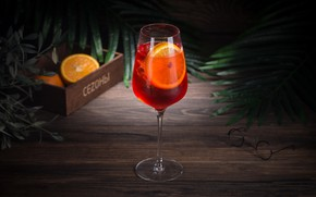 Картинка лед, бокал, апельсин, коктейль, напиток, wood