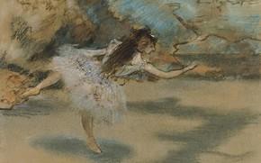 Картинка девушка, картина, балет, Эдгар Дега, Edgar Degas, Танцовщица Стоящая на Пуантах