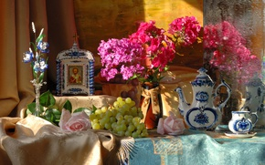 Картинка цветы, виноград, натюрморт, икона, Гжель