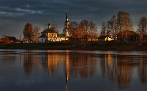 Картинка река, храм, Кострома, Костромская губерния