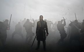 Картинка sword, war, dead, fog, movie, ken, blade, death, film, Michael Fassbender, king, Macbeth, inema