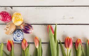 Картинка яйца, весна, пасха, тюльпаны, Праздник