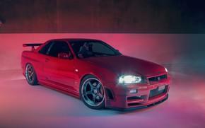 Обои GTR, Nissan, R34, RED, Skylilne