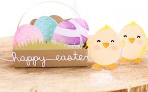 Обои весна, пасха, Easter, яйца, цыплята, happy, праздник, eggs