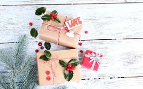 Картинка снег, украшения, ягоды, елка, Новый Год, Рождество, подарки, happy, Christmas, vintage, wood, New Year, Merry …