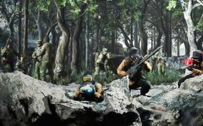 Картинка лес, камни, засада, воины, Setting up