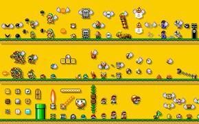 Картинка Игра, Марио, Арт, Mario, Пиксели, Super Mario, Персонажи
