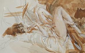 Картинка рисунок, акварель, Giovanni Boldini, Джованни Больдини, Лежащая Леди