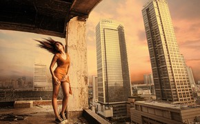 Картинка девушка, город, ветер, стройка, высота, кеды, дома, платье, ножки, Sebastian Ki