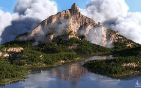 Картинка лес, облака, горы, водоём, Green Mountains
