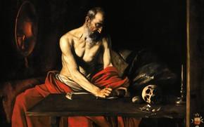 Картинка картина, религия, Караваджо, Пишущий Святой Иероним