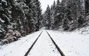 Картинка зима, лес, снег, железная дорога