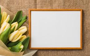 Картинка цветы, букет, рамка, тюльпаны, yellow, flowers, romantic, tulips, spring