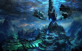 Обои Фантастика, темнота, Val Kaeli, ироглифы, горы, энергия, TERA online, мир