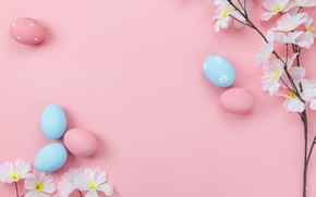 Картинка цветы, фон, розовый, яйца, весна, Пасха, wood, pink, blossom, flowers, spring, Easter, eggs, decoration, Happy, …