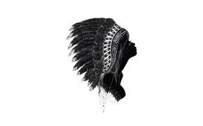 Картинка девушка, лицо, перья, профиль, головной убор