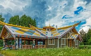 Картинка зелень, лето, небо, трава, облака, деревья, дизайн, дом, деревня, Россия, Мандроги