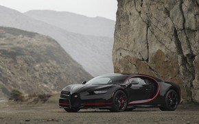 Обои Bugatti, Black, Turbo, RED, V16, VAG, Chiron