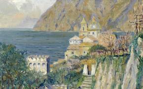 Картинка пейзаж, картина, Эдуард Какуел, Edward Cucuel, Деревенская Церковь. Соррентийское Побережье Капри