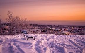 Обои зима, город, снег, ночь, скамья