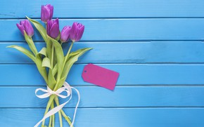 Картинка цветы, букет, тюльпаны, love, fresh, wood, flowers, romantic, tulips, spring, purple, with love