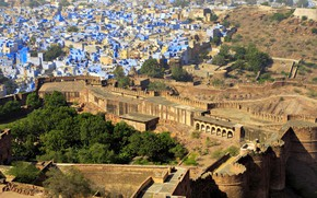 Картинка пейзаж, дома, Индия, панорама, Раджастхан, Джодхпур, синий город