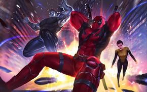 Картинка фантастика, арт, Deadpool, комикс, супергерои, Colossus, MARVEL, Teenage Warhead