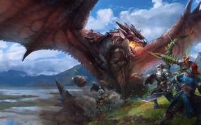 Картинка fire, flame, sword, warhammer, armor, wings, lake, man, fight, ken, blade, dragon, fang, asian, bow, …