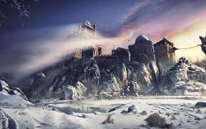 Картинка небо, winter castle, вода, крепость, замок, деревья, горы, снег