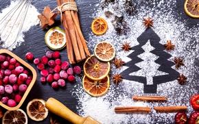 Обои клюква, корица, Новый год, апельсин, бадьян, ягоды, сахарная пудра, праздник, ёлочка