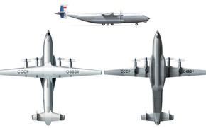 Обои Самолёт, СССР, An-22, Схема, Antey, Грузовой, Антонов, Ан-22, Антей