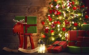 Картинка фото, игрушка, елка, олень, подарки