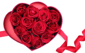 Картинка коробка, подарок, сердце, розы, лента, красные, love, valentine's day, rockvillephoto