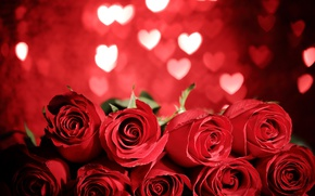 Картинка red, love, heart, flowers, romantic, gift, roses, красные розы, valentine`s day